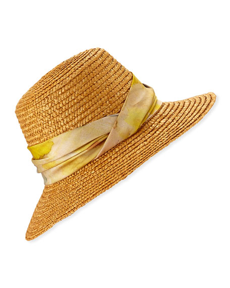 Eugenia Kim Stevie Straw Bucket Hat w/ Floral Print Band