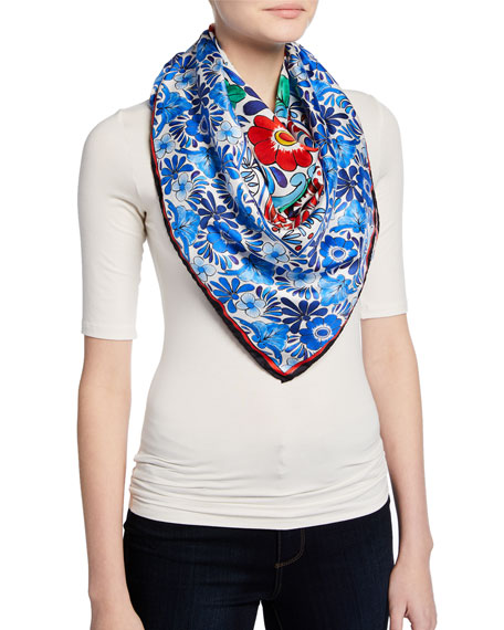 Escada Ceramic-Print Silk Twill Scarf