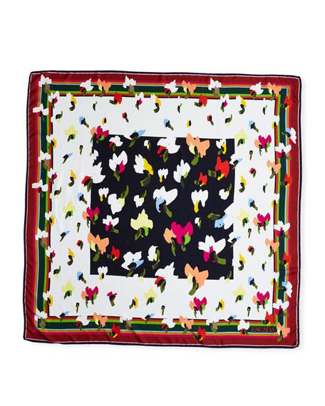 Escada Abstract Floral-Print Silk Twill Scarf