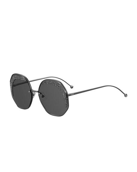 Fendi Hexagonal Sparkle-Rimmed Metal Sunglasses