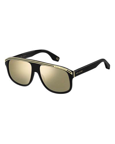 Mirrored Acetate Shield Sunglasses