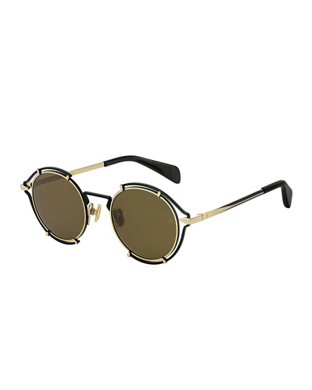 Rag & Bone Round Cutout Metal Sunglasses