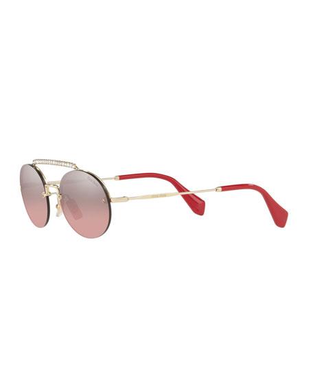 Miu Miu Semi-Rimless Oval Mirrored Sunglasses w/ Crystal Embellishment