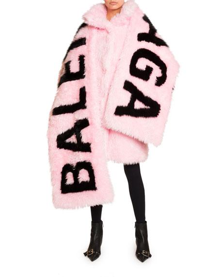 Balenciaga Oversized Faux-Fur Logo Scarf
