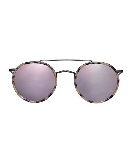 Illesteva Allen Ace Acetate & Metal Round Sunglasses