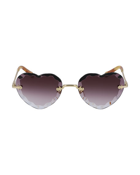 Chloe Rimless Heart-Shaped Scalloped Sunglasses