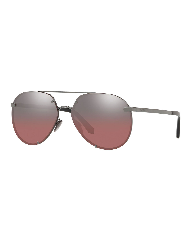 25c288fa65d4 Burberry Mirrored Metal Aviator Sunglasses | Neiman Marcus