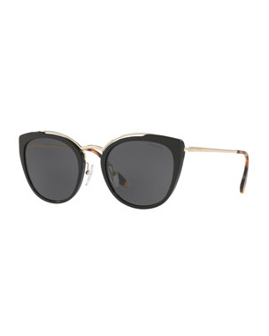 ad21ee64d861 Prada Acetate & Metal Mirrored Cat-Eye Sunglasses