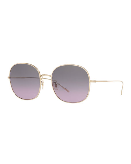 Image 1 of 2: Mehrie Metal Square Sunglasses