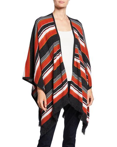 Cashmere Striped Open Shawl