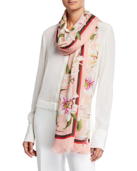 Dolce & Gabbana Lily Print Modal-Cashmere Scarf