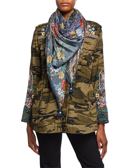 Johnny Was Sassy Floral Silk Scarf with Tassels
