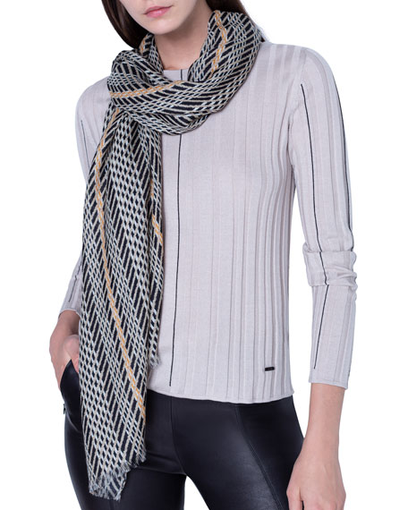 Image 2 of 3: Akris Cashmere-Silk Broken-Stripe Scarf