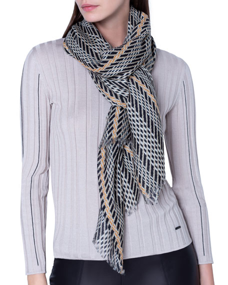 Image 3 of 3: Akris Cashmere-Silk Broken-Stripe Scarf