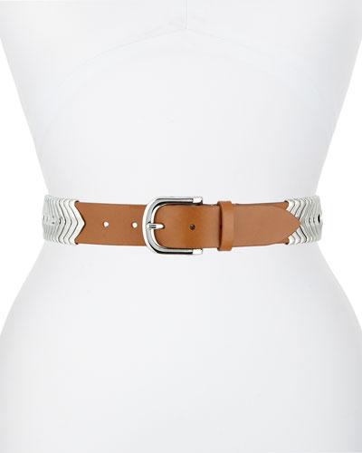 Silvertone Leather Belt