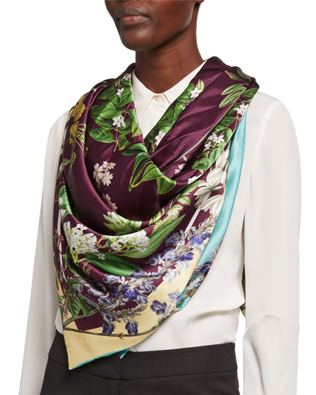 St. Piece Kelly Double Sided Silk Floral Scarf