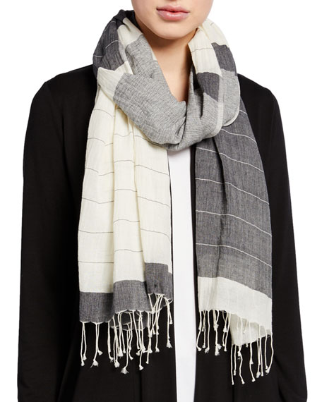 Eileen Fisher Block Stripe Handloom Organic Cotton Scarf