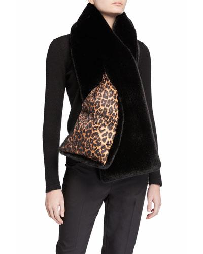 Leopard Print & Faux Fur Double-Face Puffer Scarf