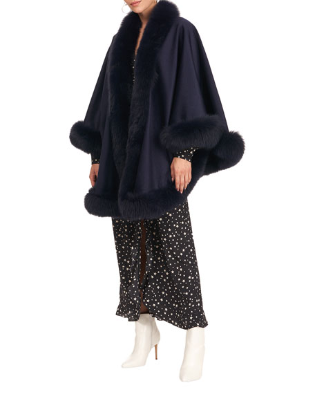 Gorski Cashmere Capelet with Fox Fur Trim