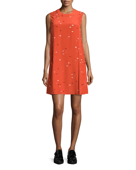 GREY Jason Wu Sleeveless Dash-Print Shift Dress, Tangerine