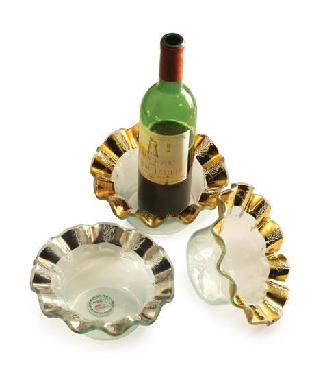 Annieglass Ruffle Platinum Wine Coaster