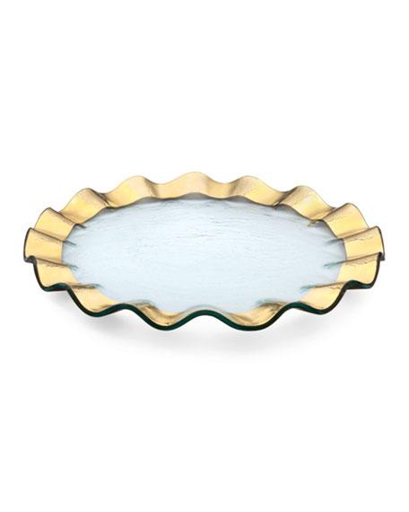 "Ruffle 13"" Gold Buffet Plate"