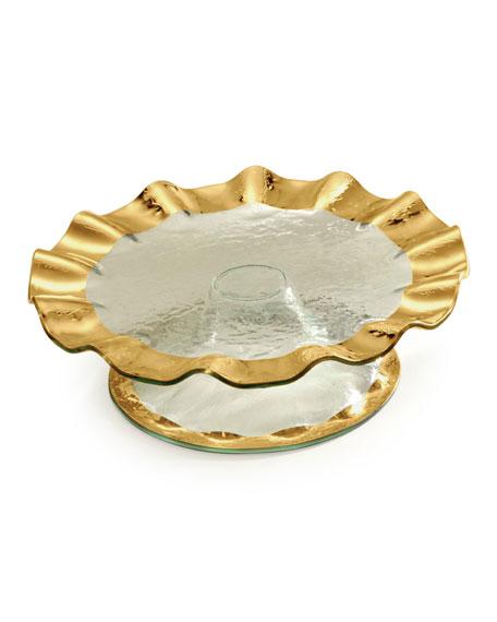 Roman Antique Ruffle Gold Pedestal Cake Plate