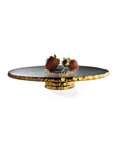 Annieglass Edgey Gold Pedestal Cake Stand