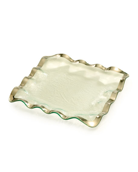 Annieglass Ruffle Platinum Square Tray