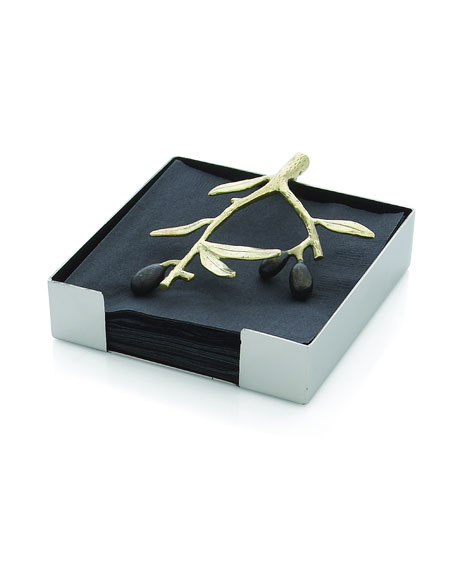 Gold-Tone Olive Branch Napkin Holder