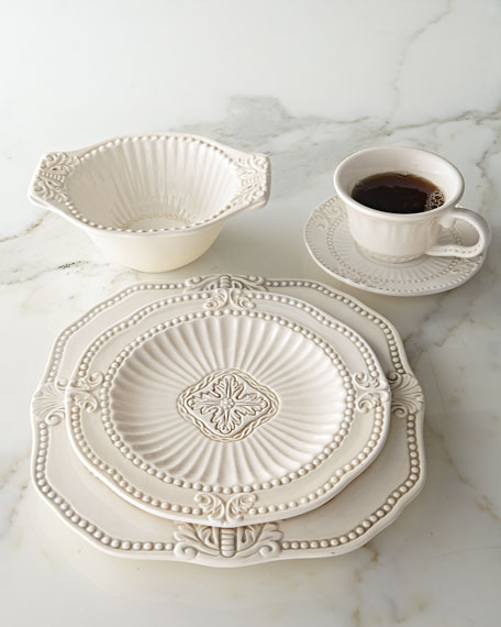 Jay Import Co 20-Piece Ivory Baroque Dinnerware Service