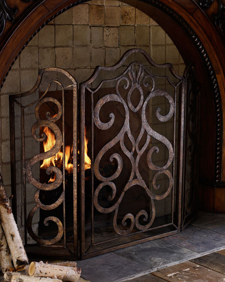 Image 1 of 2: Ambella Scroll Fireplace Screen