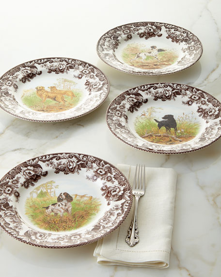 Four Assorted Woodland Hunting Dog Dinner Plates