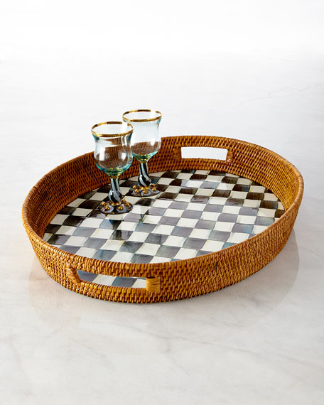 MacKenzie-Childs Courtly Check Rattan Party Tray & Pitcher