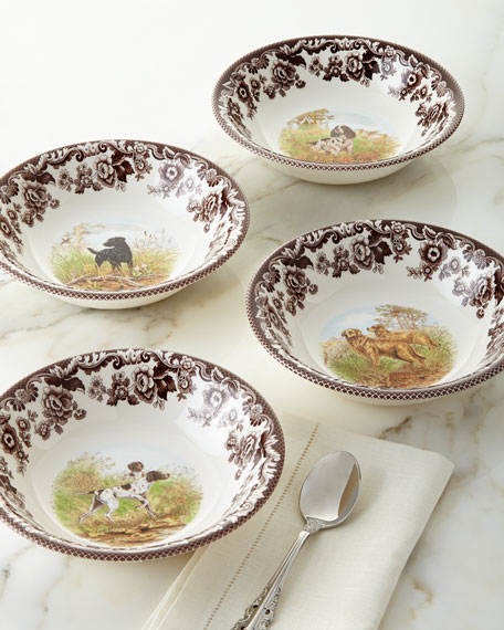 Spode Four Assorted Woodland Hunting Dog Cereal Bowls