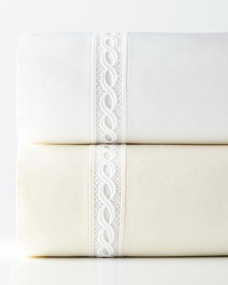 SFERRA King 1,020 Thread Count Lace Sateen Flat Sheet