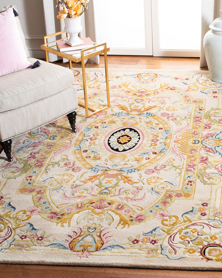 Feather Medallion Rug, 9' x 12'