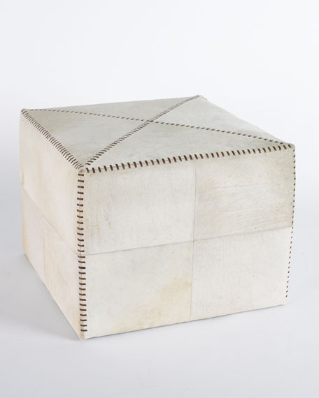 Jamie Young Large White Hairhide Ottoman