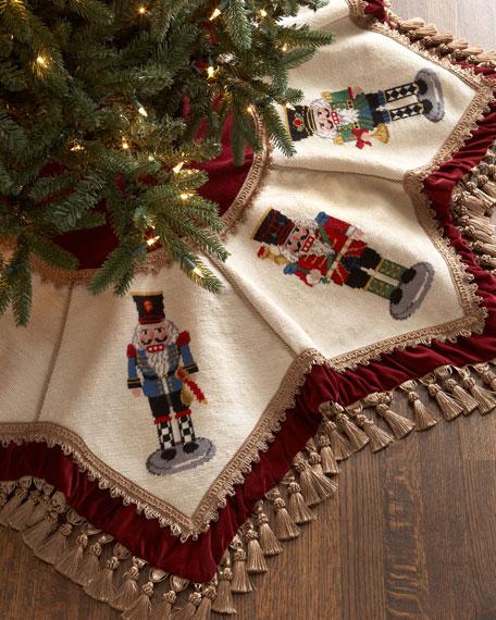Nutcrackers Tasseled Christmas Tree Skirt