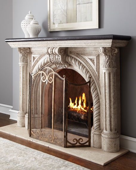 Neiman Marcus Rope-Edge Fireplace Mantel