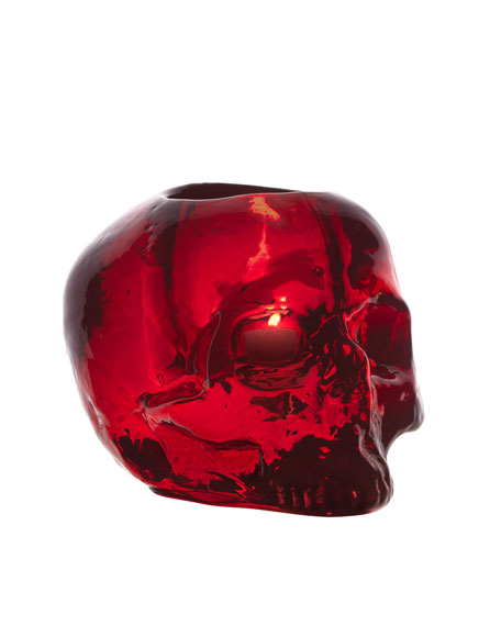 Orrefors Kostaboda Red Still Life Skull Candleholder
