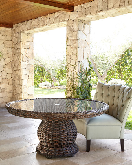 Round Outdoor Glass-Top Table