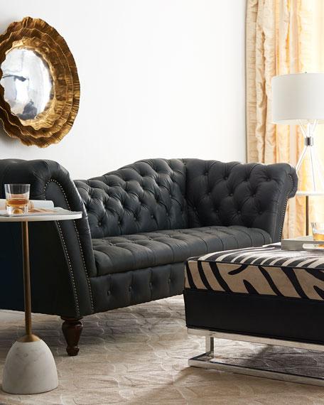 "Black Recamier Leather Sofa 90.25"""
