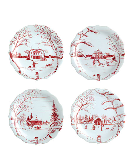 Juliska Ruby Winter Frolic Party Plates, Set of
