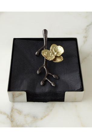 Michael Aram Gold Orchid Cocktail Napkin Holder