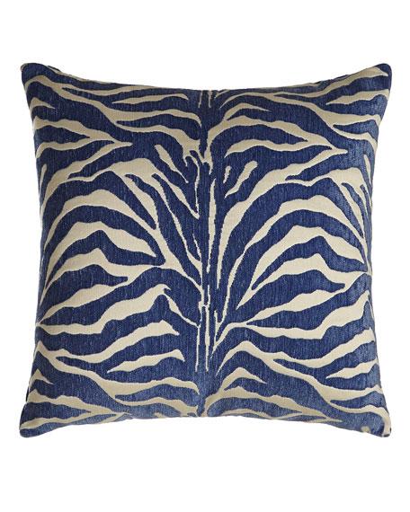 Zebra Azul Outdoor Pillow