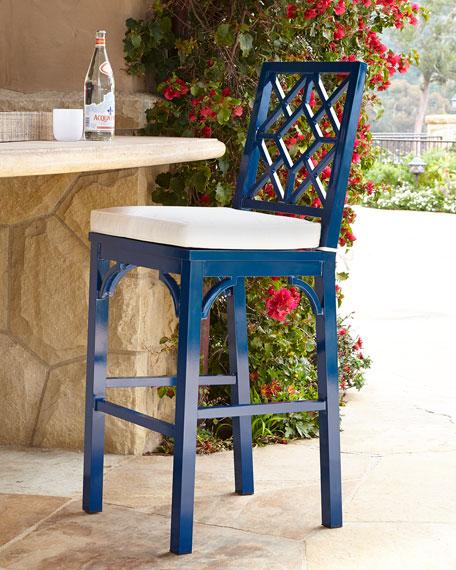 Blue Chinoiserie Barstool