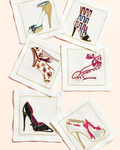 Kim Seybert Six Shoe-Embroidered Cocktail Napkins