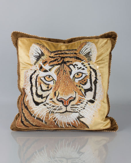 "Tiger Pillow, 18""Sq."