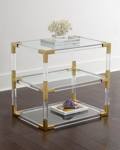 Jacques Acrylic U0026 Brass Two Tier Table